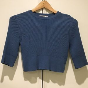 Zara Ribbed Blue 3/4 Sleeve Knit Crop Top Sz S